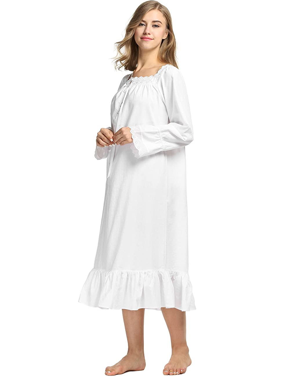 Avidlove Womens Cotton Victorian Nightgowns Romantic Long Bell Sleeve Nightshirt 3