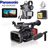 Panasonic AG-DVX200 4K Camcorder with Four Thirds Sensor and Integrated Zoom Lens + Atomos Monitor + Condenser Mic + Headphones + Memory Card Kit + LED Light + Backpack + Tripod (Tamaño: Pro)