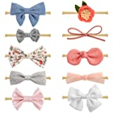 Baby Girl Headbands and Bows, Newborn Infant Toddler Hair Accessories by MiiYoung (Color: Floral/Blush/Ivory Lace/Denim/Gray, Tamaño: Small)