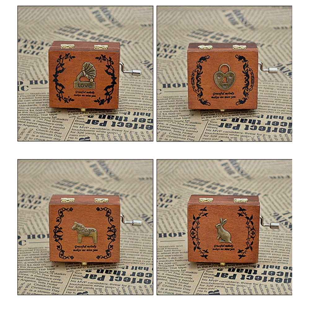Exquisite Hand Crank Musical Box Retro Vintage Wooden Music Box 4 Different Patterns for Option Beautiful Decorative Patterns 8