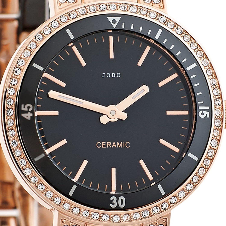 Damen-Armbanduhr Quarz Analog Edelstahl rosé Keramik Kristall-Elements günstig bestellen