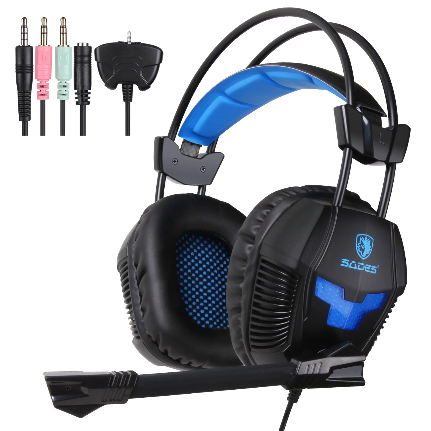 Sades SA921 Gaming Headset for PS4 Xbox360 Xbox one PC iPhone Smart Phone Laptop iPad Mobile phones, Multi Function Pro Game Headphones with Mic (Black)