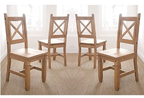 Set of 4 Monterrey Mexican Solid Pine Cross Back Dining Chairs RRP £249.99