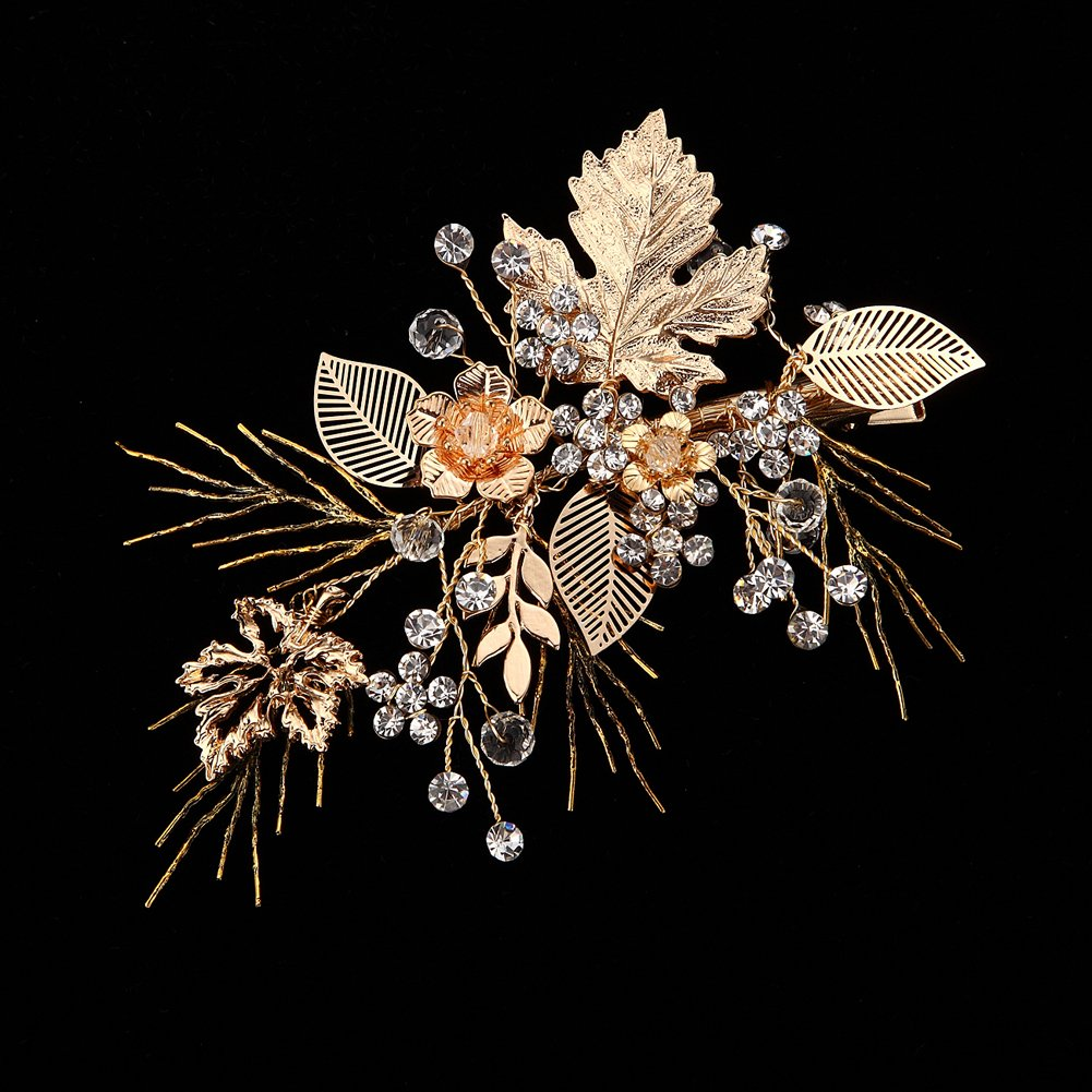 FAYBOX Vintage Gold Twig Hair Clips Bridal Headpiece Wedding Accessories 2