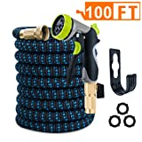 VILUAR Expandable 100ft Garden Hose Lightweight Expandable Water Hose, Durable Double Latex Core, Solid Brass Fittings, 8 function metal spray nozzle, 3 Extra Rubber Gaskets (Color: Black+blue, Tamaño: 100FT)