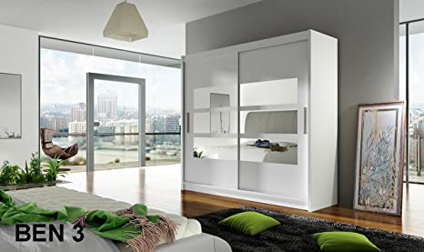 WARDROBE BEN 3 WHITE 180 cm wide 2 sliding doors many colours
