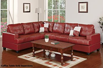 2-Piece Sectional Set in Burgundy by Poundex