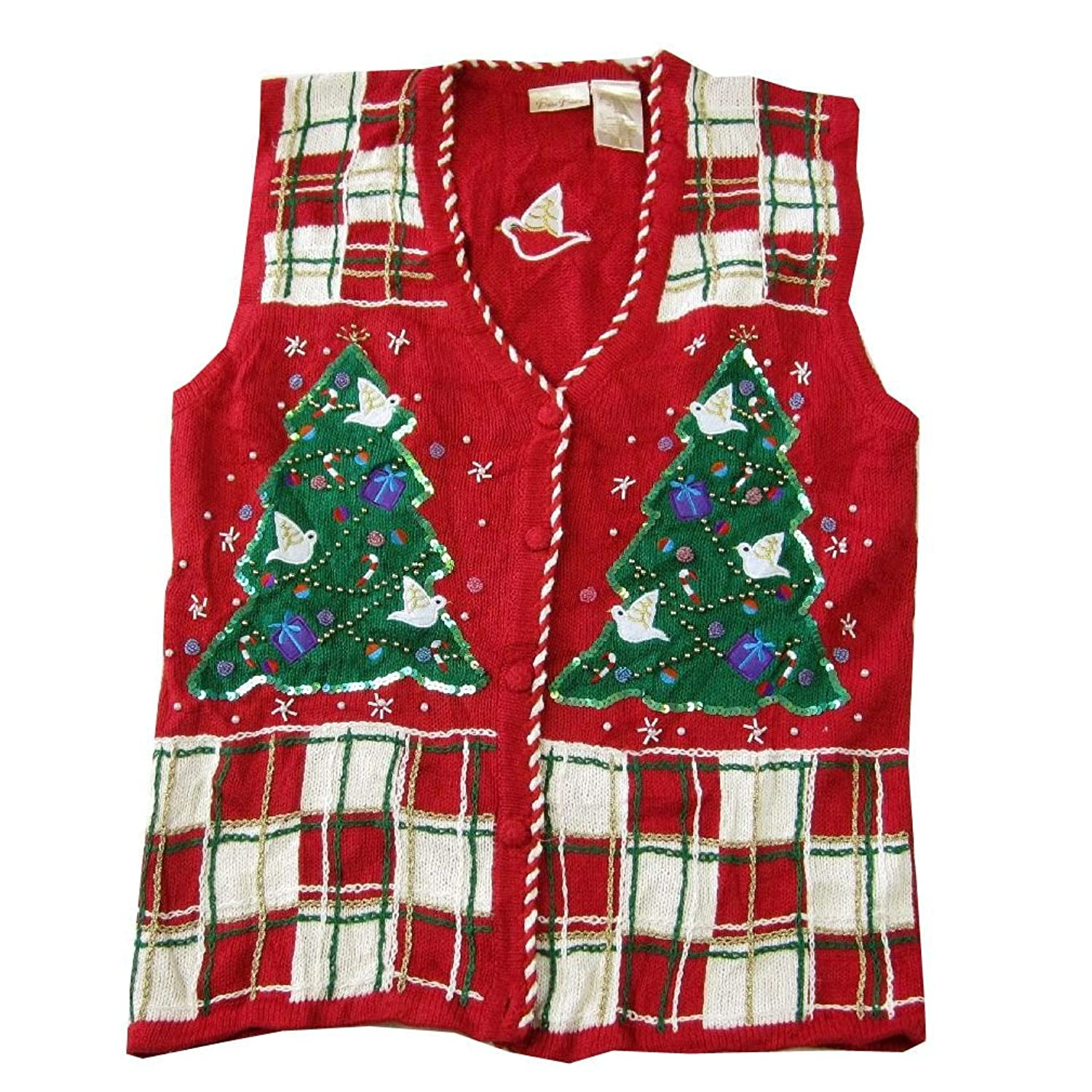 XVEST-1011 - Ugly Christmas Sweater Vest Ladies - Large - Red  цены