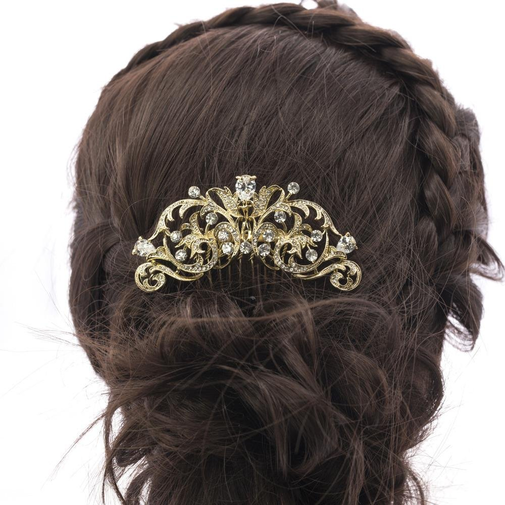 Sepjewelry 2253R Vintage Style CZ Rhinestone Hair Comb Pin Clip 4