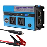 500W Car Power Inverter, Jacknthe DC 12V to 110V AC Digital Display Converter for Car Battery, with 2 AC Outlets 2 Cigarette Lighter Sockets and 9.6A 4 USB Ports DC to AC Inverter