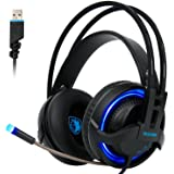 Sades R2 Gaming Headset Virtual New 7.1 Channel Surround Sound Stereo Headphones Colorful Breathing LED lights With Mic USB Plug PC Mac Headsets