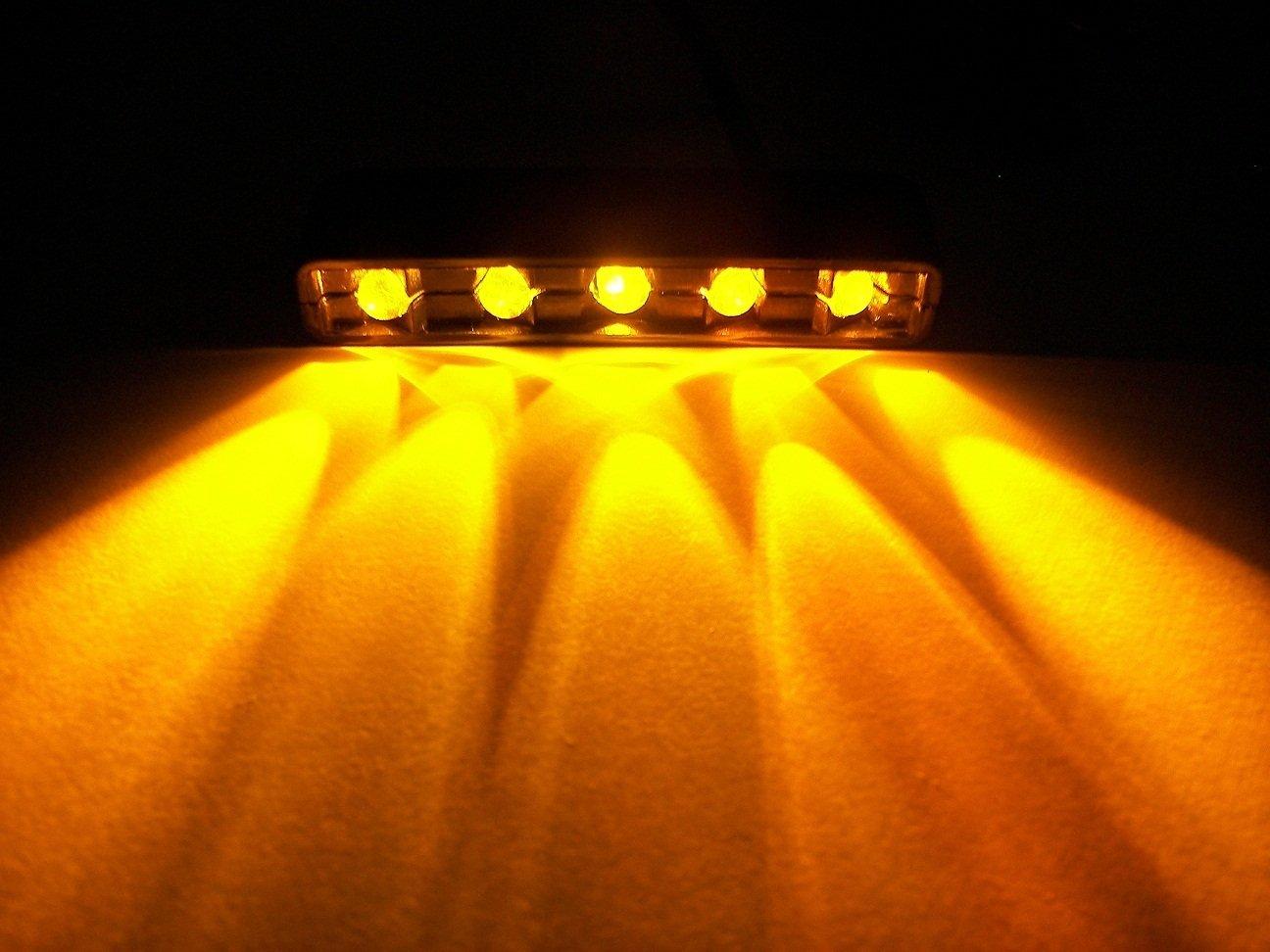 AMBER Orange 5 LED Chrome MOTORCYCLE CAR BOAT HOME POD ACCENT LIGHT BRIGHT 1