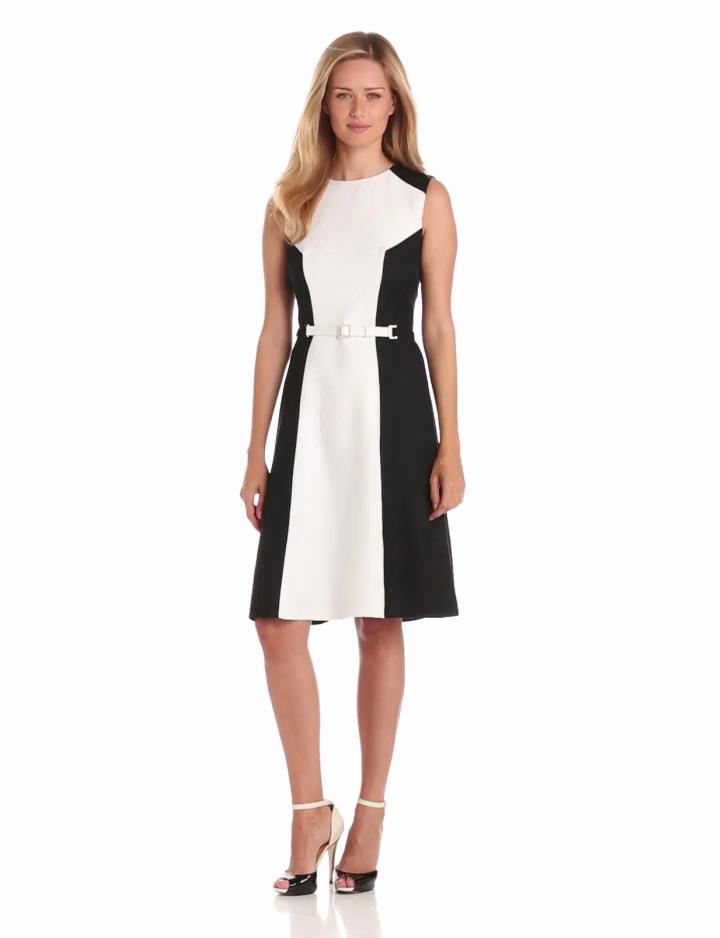 Anne Klein Womens Colorblock Shift Dress