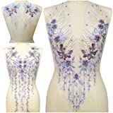 Lace Embroidered Pearl Rhinestone Patches Applique for DIY Fabric Trim Neckline Wedding Bridal Prom Dress Back Decoration (Light Purple, One Set) (Color: Light Purple, Tamaño: One Set)