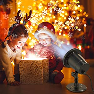 Snowflake Christmas Lights Projector for Festive Holiday Décor, Waterproof, Realistic Snowflake Pattern, Plug-In, Wide Illumination Area, outdoor/indoor (Color: Black)