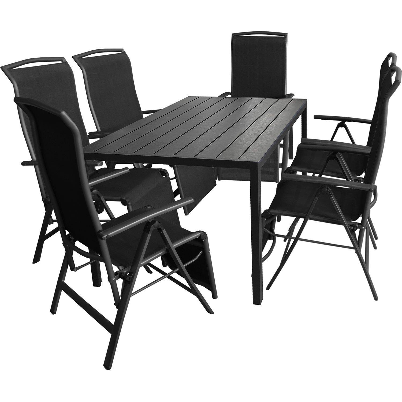7tlg. Gartengarnitur Aluminium Gartentisch 150x90cm mit Polywood Tischplatte Klappsessel mit 2×1 Textilenbespannung Rücken- und Fußteil um 5 Positionen verstellbar online kaufen