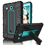 Galaxy Tab E 9.6 Case, Elegant Choise Case with Kickstand Three Layer Heavy Duty Shockproof Defender Rugged Protective Case Cover for Samsung Galaxy Tab E 9.6 inch/SM-T560/T561/T567 (Blue/Black) (Color: Blue/Black)