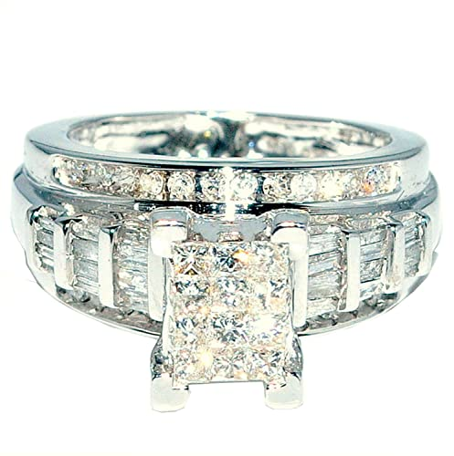 Princess-Cut-Diamond-Wedding-Ring-3-in-1-Engagement-bands-white-gold-9ct