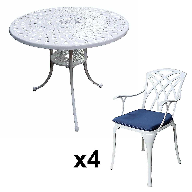 Lazy Susan - MIA 90 cm Runder Gartentisch mit 4 Stühlen - Gartenmöbel Set aus Metall, Weiß (APRIL Stühle, Blaue Kissen)