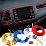 WICHEMI Car Interior Motor Exterior Decoration Moulding Trim Strip Line Sticker DIY Automobile Air Outlet Dashboard Decoration 3D Car Styling Molding Strip 5 Meters Silver (Color: silver)