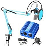 Neewer NW-800 Pro Condenser Mic and 48V Phantom Power Supply Kit with NW-35 Boom Scissor Arm Stand, Shock Mount and Pop Filter for Home Studio Sound R