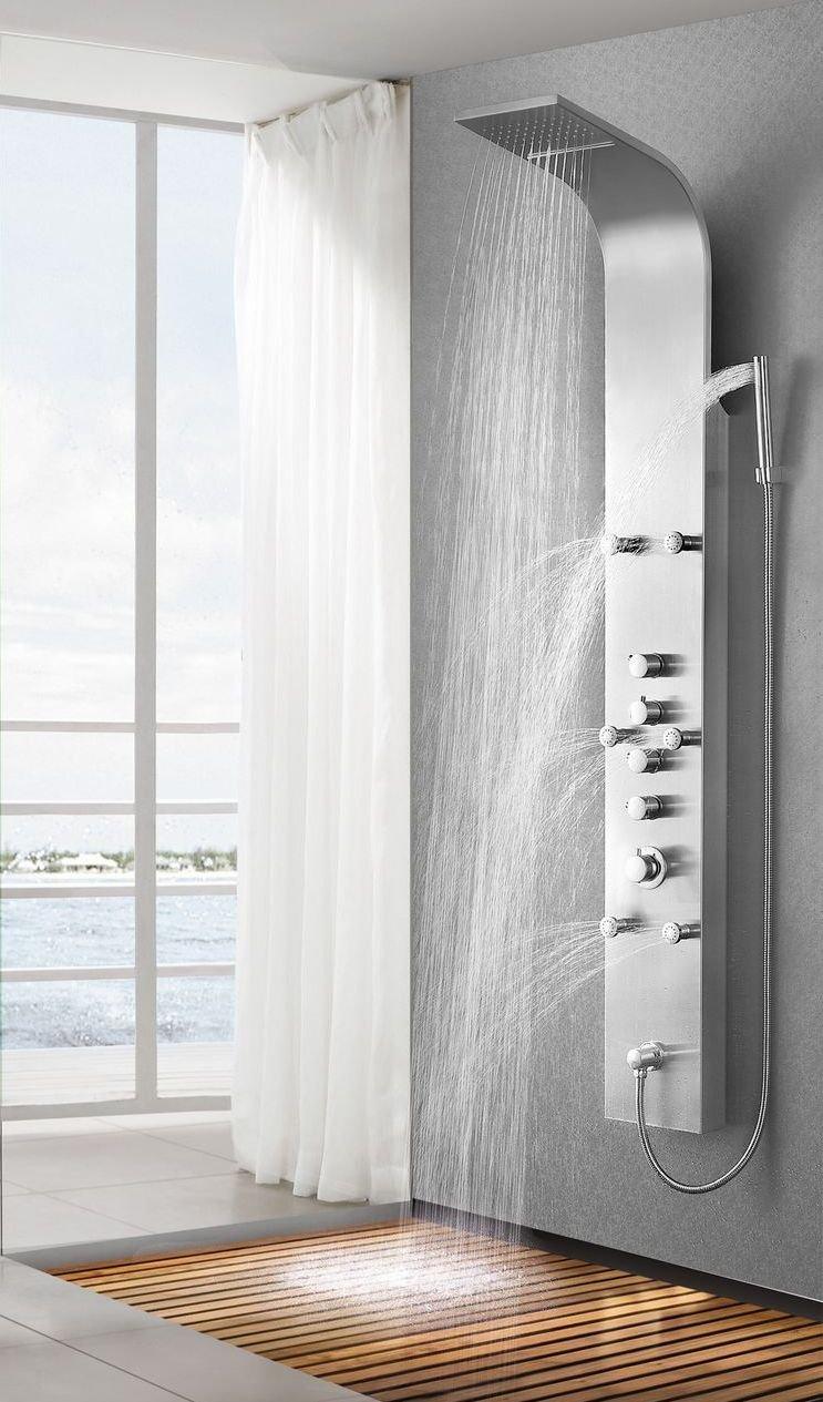 edelstahl duschpaneel steelo duschs ule regendusche wasserfallfunktion massaged sen. Black Bedroom Furniture Sets. Home Design Ideas