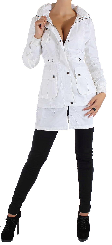 Damen Kaputzen Lang Mantel Jacke Reißverschluss Braun Schwarz Weiß S/36-XL/42 kaufen