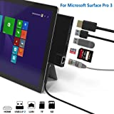 Cateck Surface Pro 3 USB 3.0 Hub Docking Station, Dual USB Card Reader, 2X USB 3.0 Ports (5Gps)+Ethernet Port+4K HDMI+ SD/TF(Micro SD) Memory Card Solt Combo Adapter?Upgraded Version? (Color: Surface pro 3 hub)