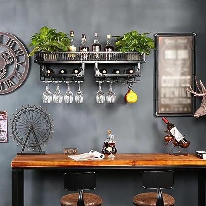 Z&HAOEstante Del Vino Montado En La Pared Vintage Europeo Vino Rack De Hierro Bronce Color 100 * 35 * 27 Cm Conjunto De 1 , Wall Hung, Double Grid, Long 100*, Width 35 Black