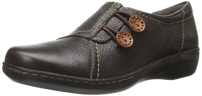 Clarks Women's Evianna Secure Flat, Brown Leather, 6.5 M US