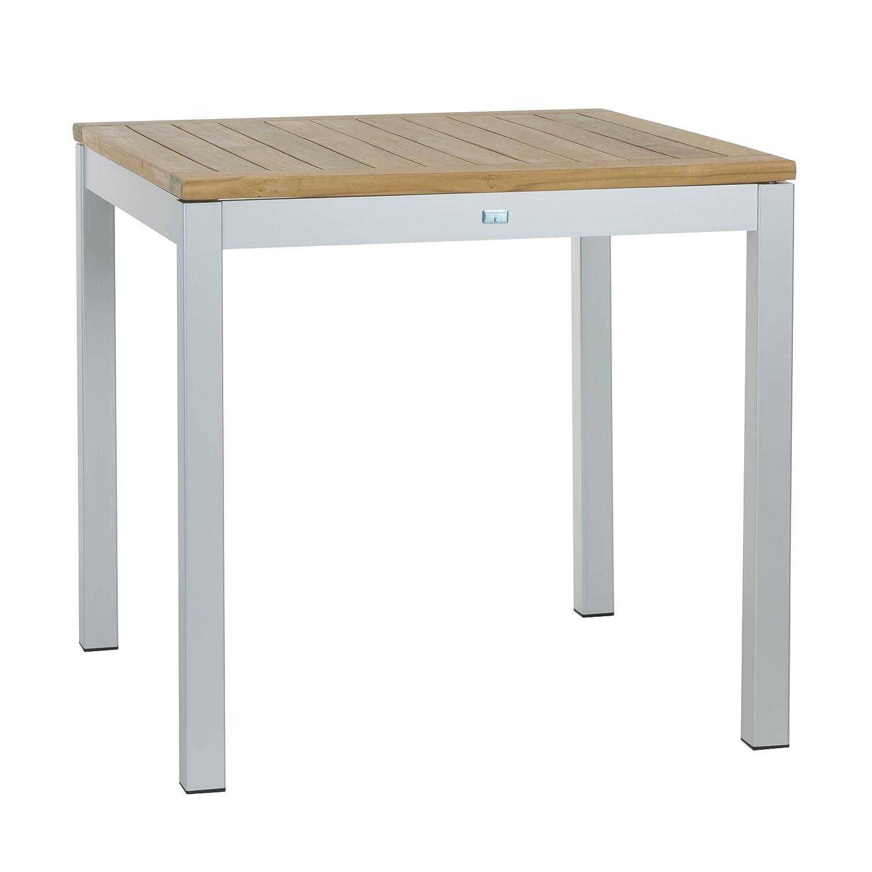 Quadrat Tisch - Gestell alufarben, Platte Teak natur / 80 x 80 cm, h 76 cm