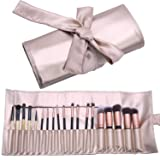 Makeup Brush Organizer Rolling Bag Cosmetic Case PU Leather Brush Holder Travel Portable 18 Slots Makeup Artist Storage Handbag … (Color: gold)
