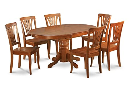 East West Furniture AVON5-SBR-W 5-Piece Dining Table Set, Saddle Brown Finish