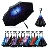 Spar. Saa Double Layer Inverted Umbrella with C-Shaped Handle, Anti-UV Waterproof Windproof Straight Umbrella for Car Rain Outdoor Use (Color: Starry Sky/Black, Tamaño: X-Large)