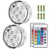 Puroma 2 Pack RGB Submersible LED Lights Remote Controlled, 16 Color Changing Waterproof Lights with 6 Batteries for Aquarium Swimming Pool Vase Base Fountain Garden Party Weeding Christmas Halloween (Color: Transparent)
