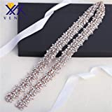 Crystal Rhinestone Appliques by the Yard Jewelry Embellishments Handcrsfted Sparkle Elegant Long Sewing Hot fix for DIY Wedding Gown Bridal Belts Sashes Prom Evening Women Dresses - Rose Gold (Color: Rose Gold-t)