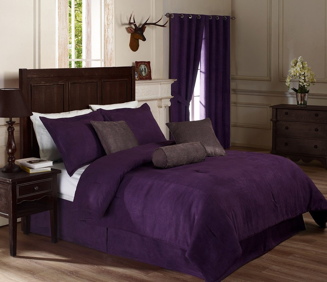 Chezmoi Collection 7 Pieces Solid Lavender Purple Micro Suede Comforter 90x92 bed-in-a-bag Set Queen Size Bed