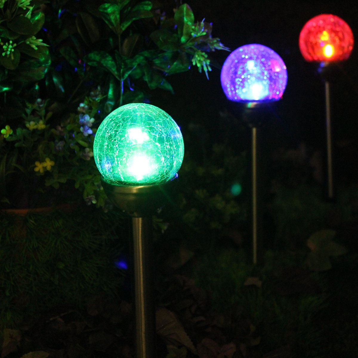 SOLAscape Crackle Glass Globe Color-Changing & White LED, Stainless Steel Solar Path Lights, Set of 6