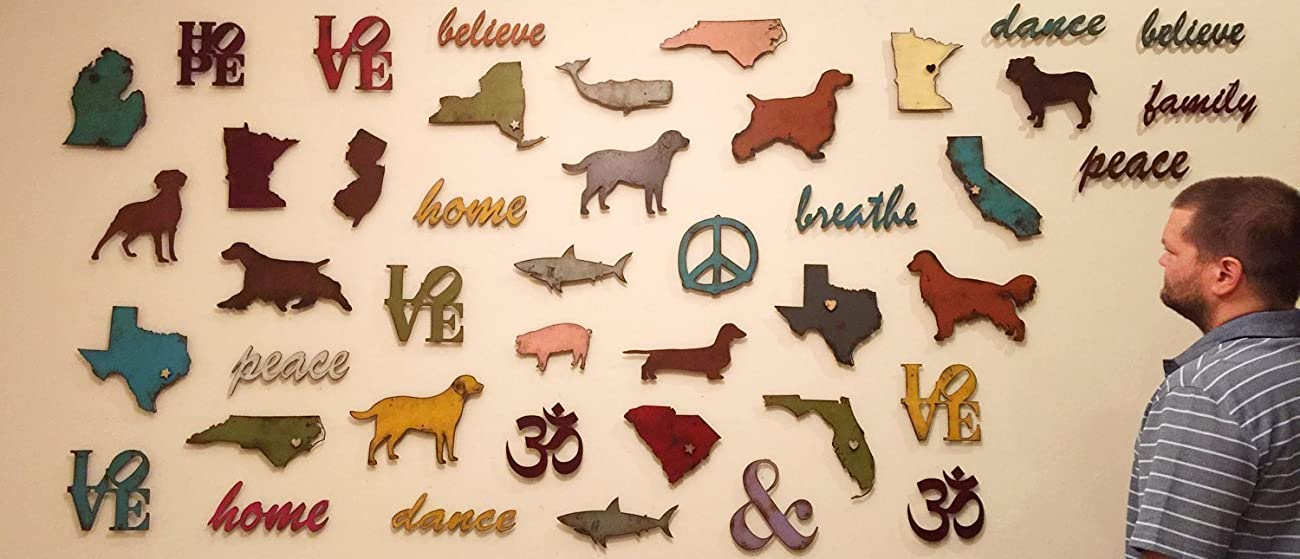 11 inch long eat metal wall art word - Handmade - Choose your patina color	 6