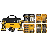 DEWALT DCK287D2 20V MAX XR Li-Ion 2.0Ah Brushless Compact Hammer drill and Impact Driver Combo Kit and Screwdriving and Drilling Set, 100 Piece