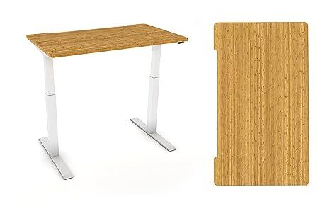 Casa/pequeño/mediano de oficina escritorio: madera de bambú y altura ajustable eléctrica marco en Negro o crema blanco, Cream White Frame, 1400mm x 800mm