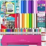 Silhouette Cameo 3 Glitter Pink Bluetooth Starter Bundle with 26 Oracal 651 Sheets, Transfer Paper, Guide, Class, 24 Sketch Pens (Tamaño: Bundle #1 - Cameo 3 Starter Bundle)