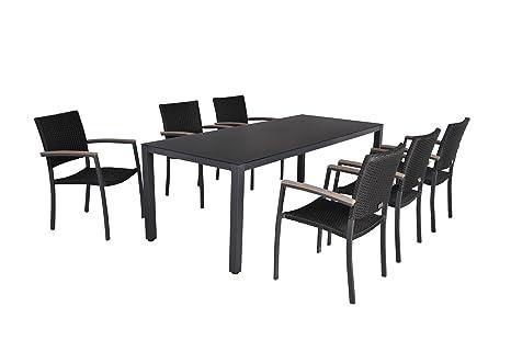 6er Sitzgruppe schwarz Gartengarnitur Essgruppe Gartenset Gartenmöbel