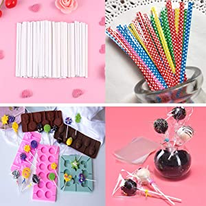 Lollipop Cake Pop Treat Bag Set Including 100pcs Parcel Bags, 100pcs Papery Treat Sticks, 100pcs Colorful Metallic Twist Ties for Making Lollipops, Cake Pops, Candies, Chocolates and Cookies
