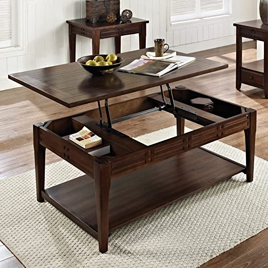 Steve Silver Crestline Rectangle Distressed Wood Lift Top Coffee Table with Casters