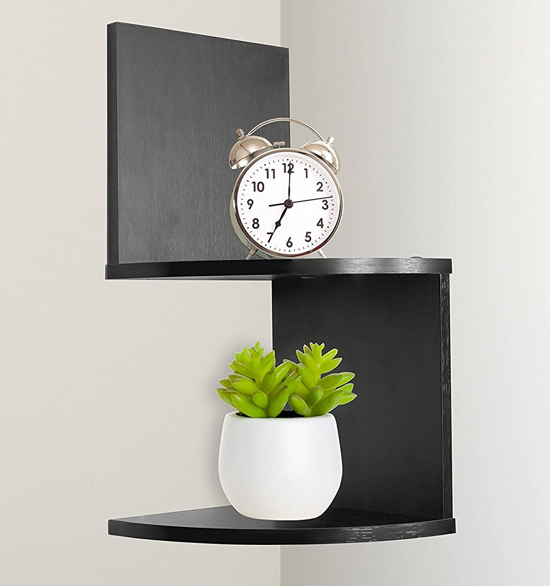 Greenco Modern Design 2 Tier Corner Floating Shelves, Espresso.