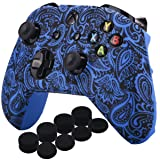 YoRHa Printing Rubber Silicone Cover Skin Case for Xbox One S/X Controller x 1(Flowers&blue) With PRO Thumb Grips x 8 (Color: leaves blue, Tamaño: Printing)