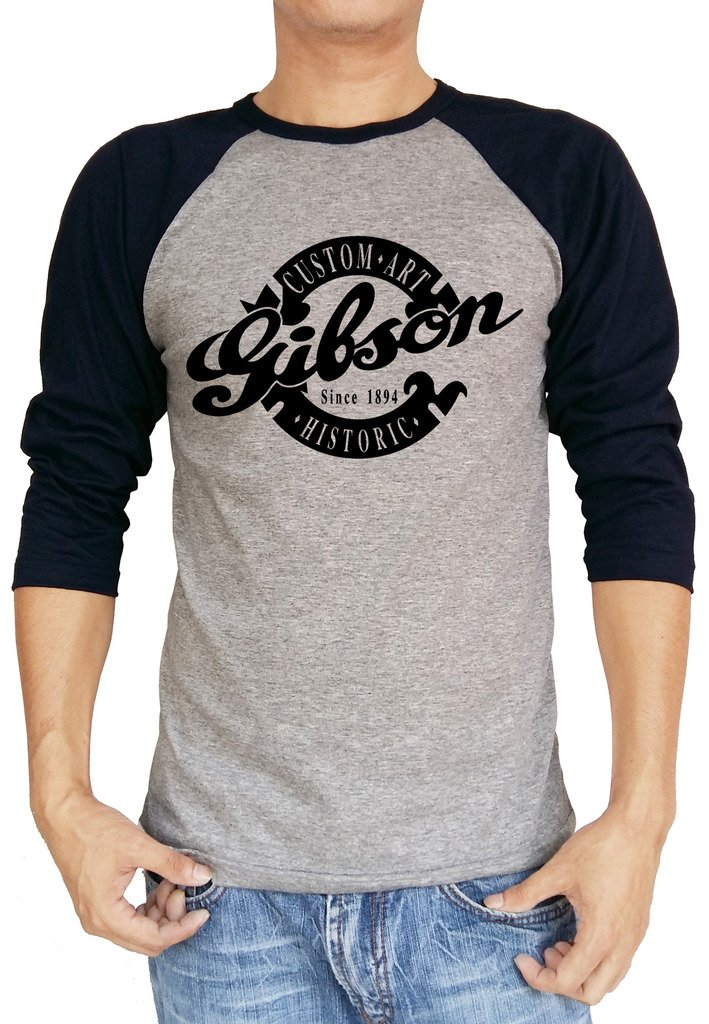 Galleon gibson custom art historic guitar logo baseball for Custom raglan baseball shirt