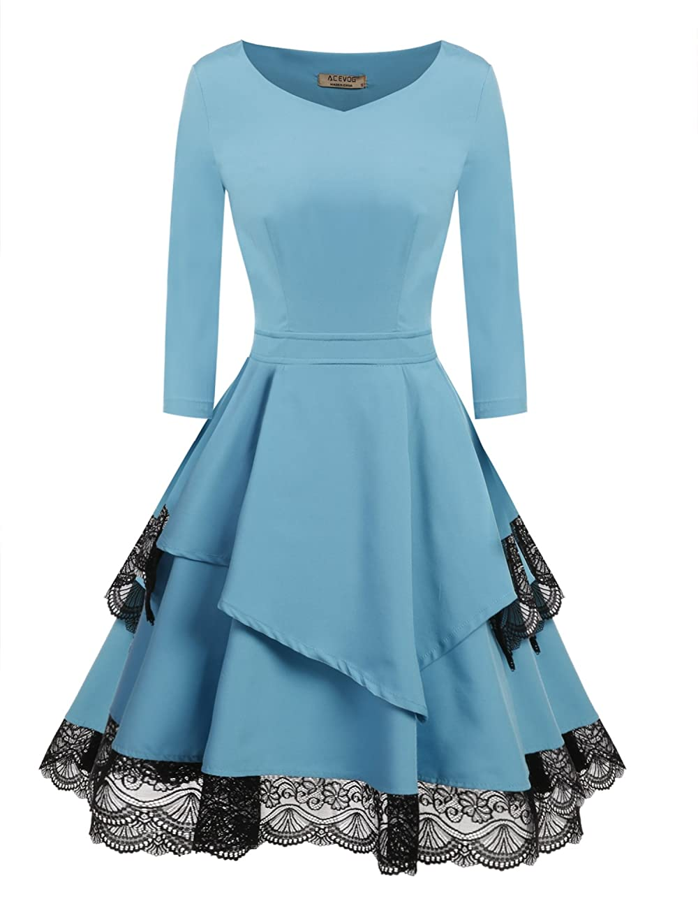 ACEVOG Women's 50s Vintage Floral Lace 3/4 Sleeve Pleated Cocktail Swing Dress 0