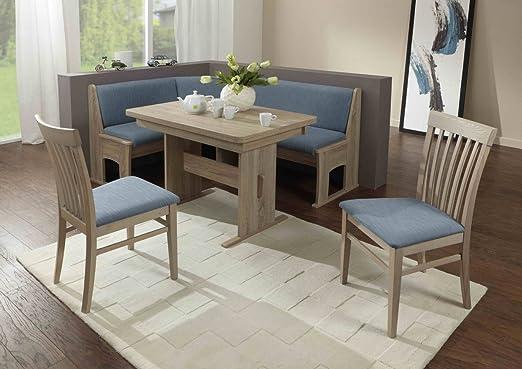 Dreams4Home Eckbankgruppe 'Vita' Essgruppe 167 x 128 x 87 cm Tisch 2 Stuhle modern Sonoma Eiche hellblau blau Eckbank Kuchentisch 4-teilig Landhaus Kuche